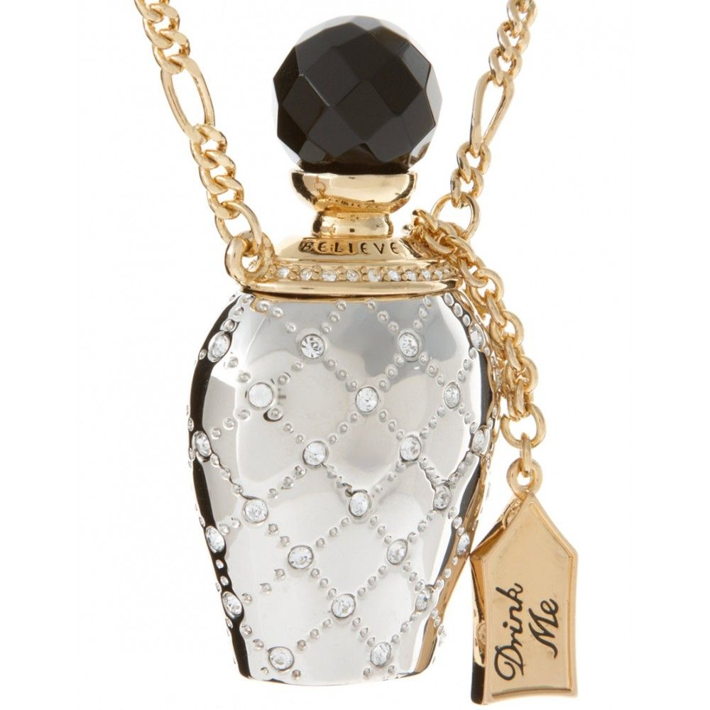 Disney Couture Platinum-Plated Crystal Alice Drink Me Bottle Necklace
