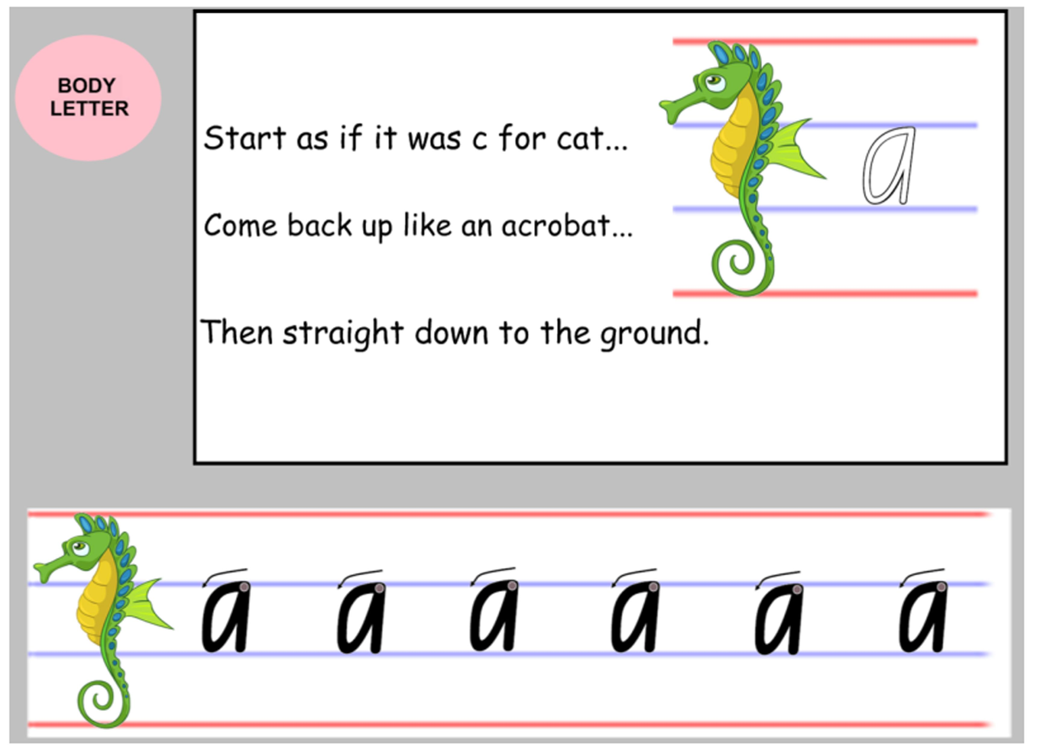 Nsw Foundation Handwriting Lower Case Seahorse Letter Formation Teachers Lettering [ 2480 x 3508 Pixel ]