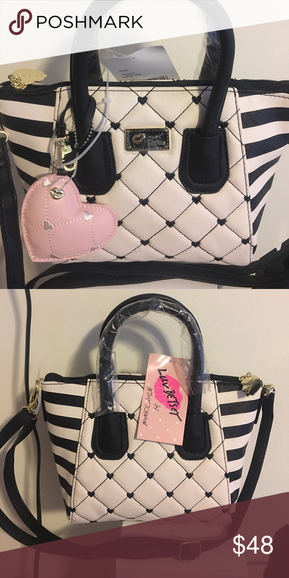 24efbe0ea0d Authentic Betsy Johnson Purse Authentic Betsey Johnson Cutie Hearts Tassel  Black White Blush Pink Faux Purse Betsey Johnson Bags Mini Bags