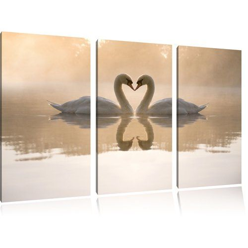 Love Art Picture Grey White Swans Heart Kissing Canvas Wall Print Large