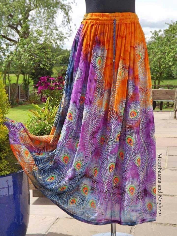 Purple peacock skirt Bohemian skirt, Peacock skirt