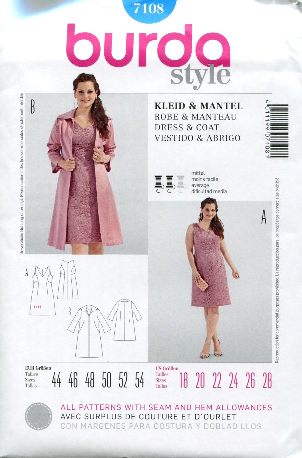 DRESS & COAT PATTERN Cocktail Dress Pattern Bridesmaid Dress Burda ...