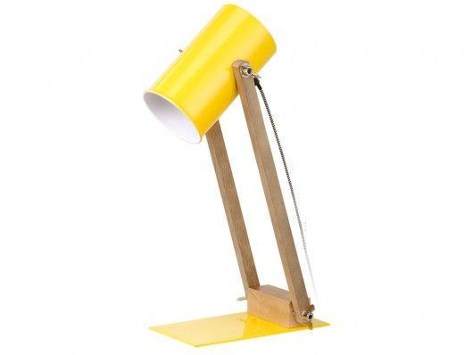 Lampe de bureau orientable ilona jaune et bois l24*p12*h47cm