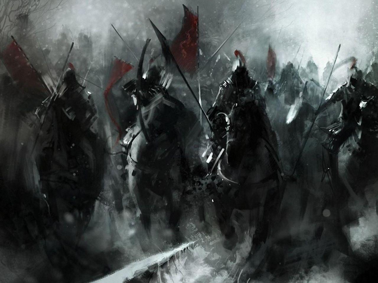 Fantasy Art Dark Army War Black Flags