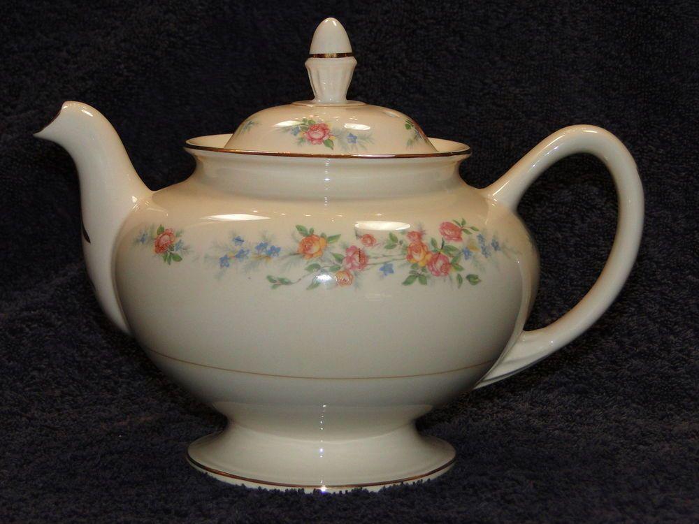Homer Laughlin Eggshell Nautilus Ferndale TeaPot & 4 Tea Cups 1943 RARE & MINT! #HomerLaughlin