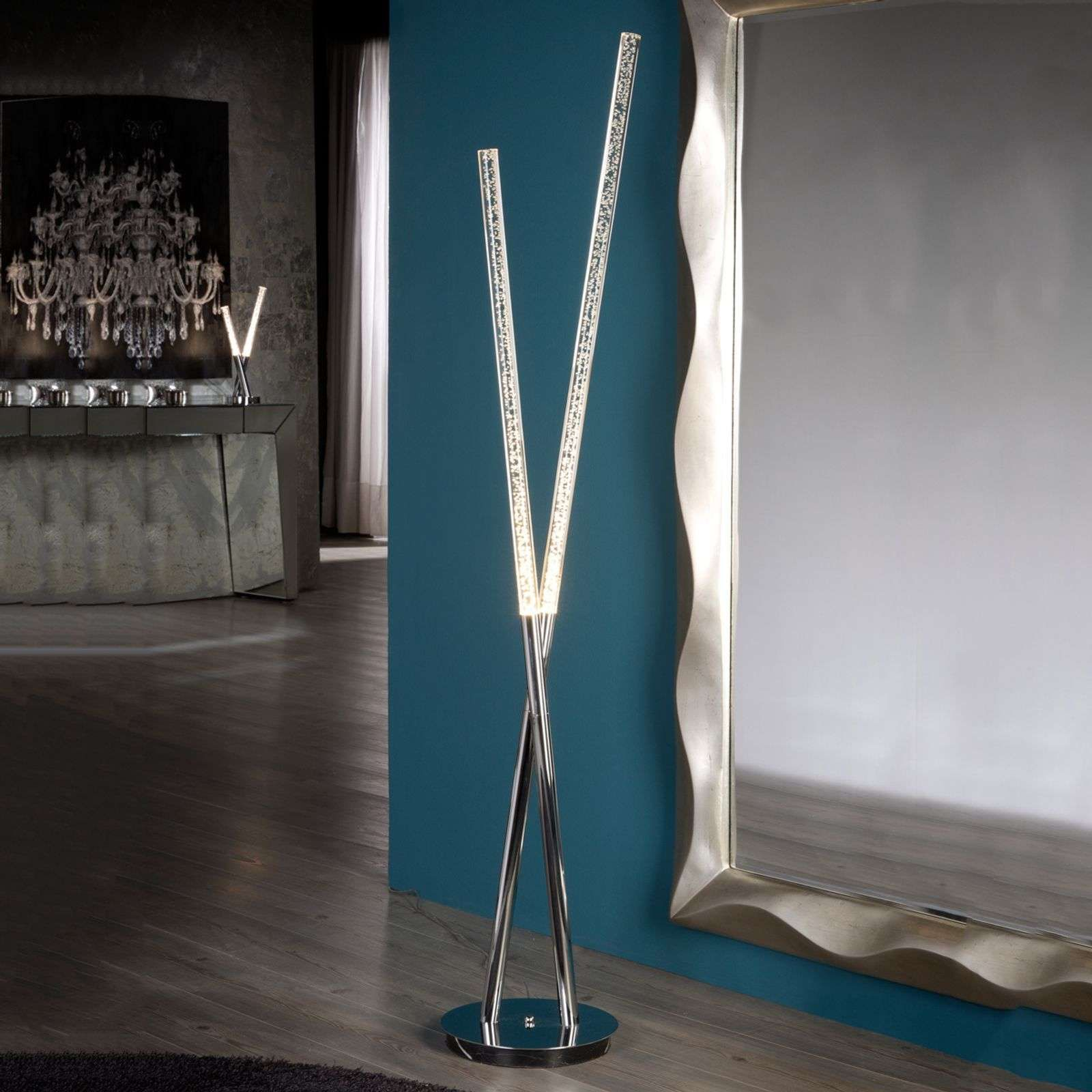 Glanzende Led Stehleuchte Cosmo Mit Acrylrohren Tube Acrylique