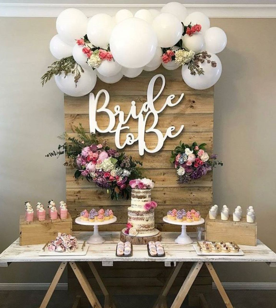 Stunning Rustic Bridal Shower Dessert Table Set Up