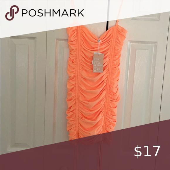 Bright neon coral mini dress