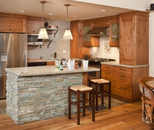 Knotty Hickory Kitchen Cabinets: Simple White Walls Help Tie Together The Beautiful Stone