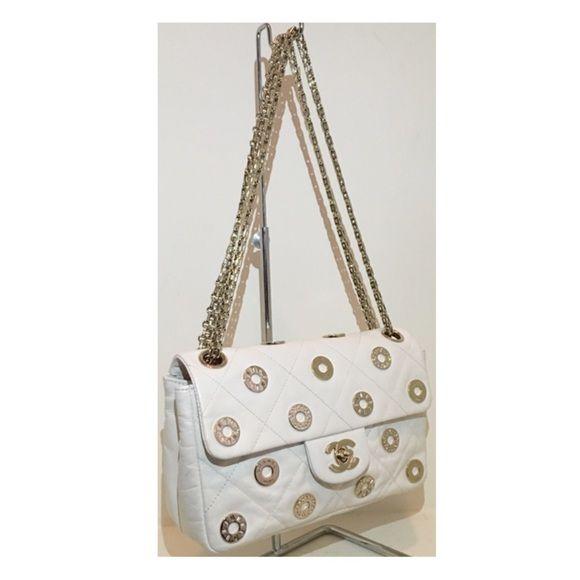 0120e5dc0f785d Spotted while shopping on Poshmark: CHANEL White Swarovski Handbag! # poshmark #fashion #shopping #style #CHANEL #Handbags