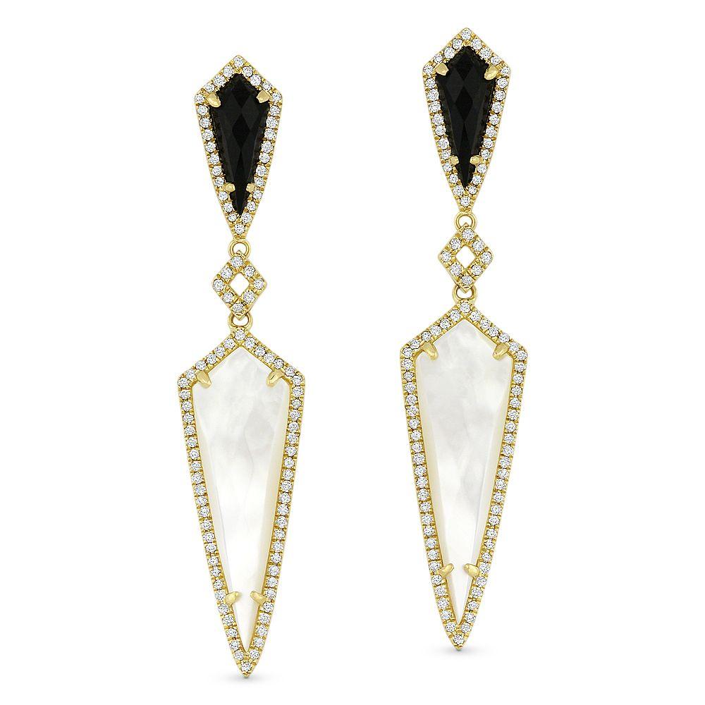 Earrings cute Filigree with Black  Onyx and Rose Quartz