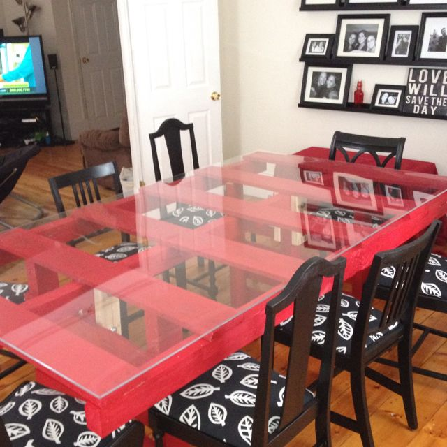 Our dining room table that we made out of pallets | Interior Design ...
