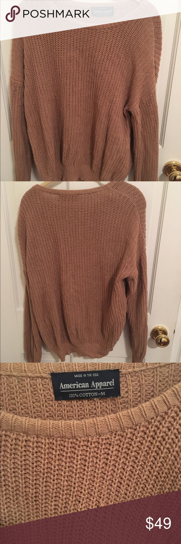 Beige American Apparel sweater Beige American Apparel sweater, cable knit, good condition American Apparel Sweaters Crew & Scoop Necks