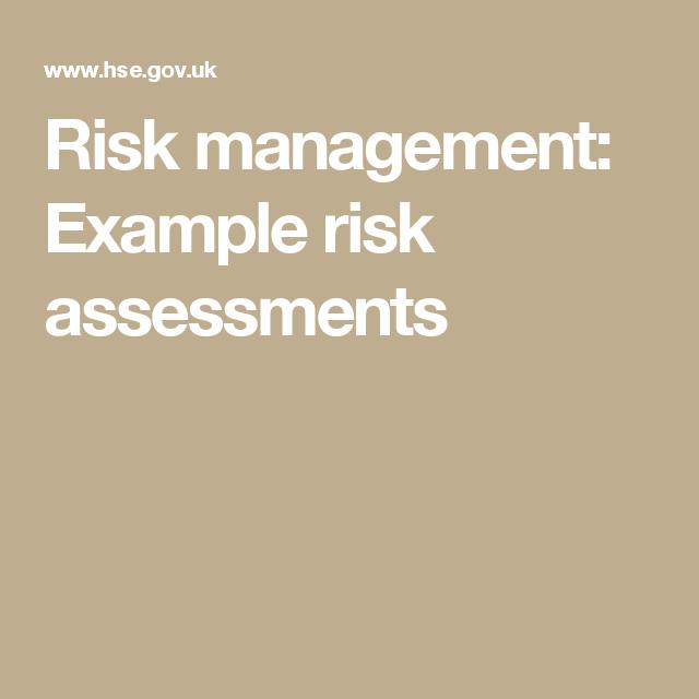 Risk Management Example Risk Assessments  Nebosh
