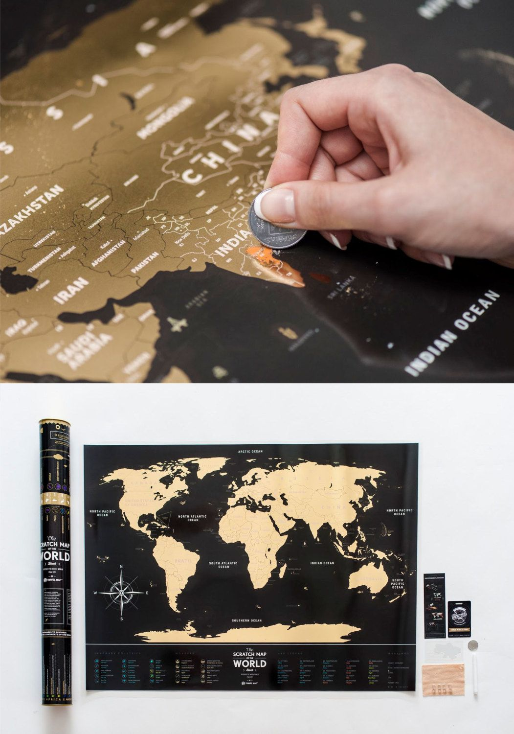 Premium Plastic Black Scratch Map Of The World Free Shipping Worldwide!  Scratch Map Gift