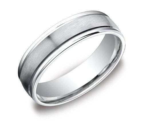 Men's Platinum 6mm Comfort Fit Wedding Band Ring with High Polished Round Edges and Satin Center, Size 10 $1,099.00
