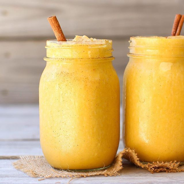 Because I don't think there are quite enough orange/yellow photos on my page right now🙃…VEGAN PUMPKIN PIE SMOOTHIE from @beamingbaker🎃🎃 I haven't made a single pumpkin pie yet this year (which is very weird for me considering it is already October 6th😳) buuuuuut this satisfied the pie craving perfectly👌And in like 1/23 the time too! Sweet, simple, super creamy😋 Just because there are two glasses here, don't think I actually shared with anyone🙊 Recipe at beamingbaker.com✨