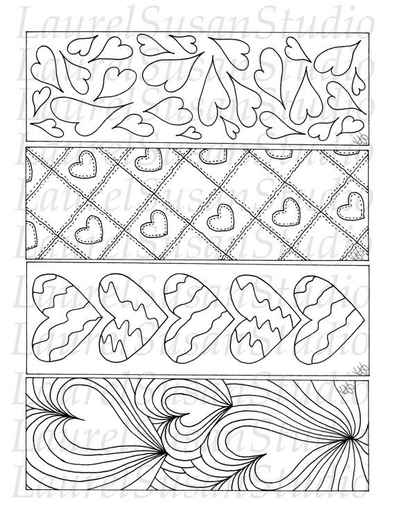 Hearts Bookmarks, Printable Valentines Day Coloring Pages, PDF ...