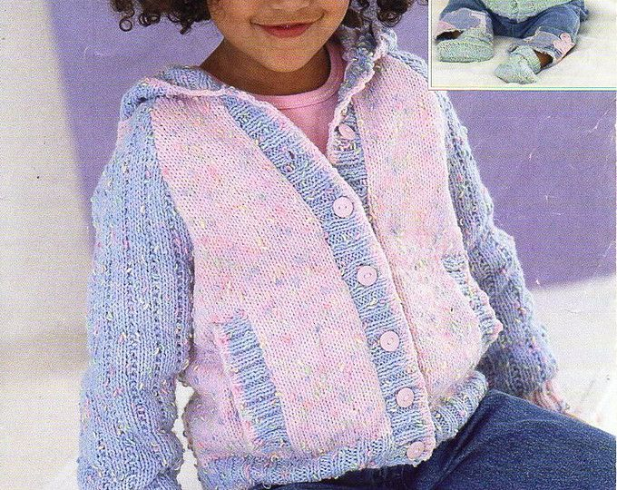 Baby Childrens Jacket With Hood Knit Pattern Pdf Hooded Cardigan