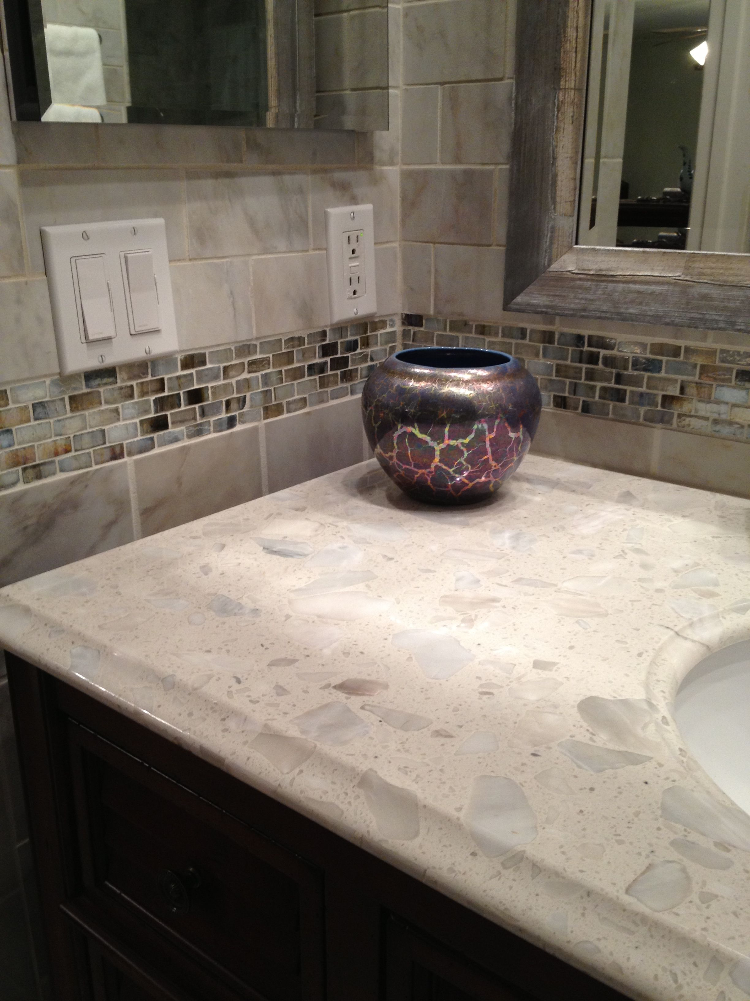 Pretty Glass Tiles For My Backsplash In My Bathroom Small