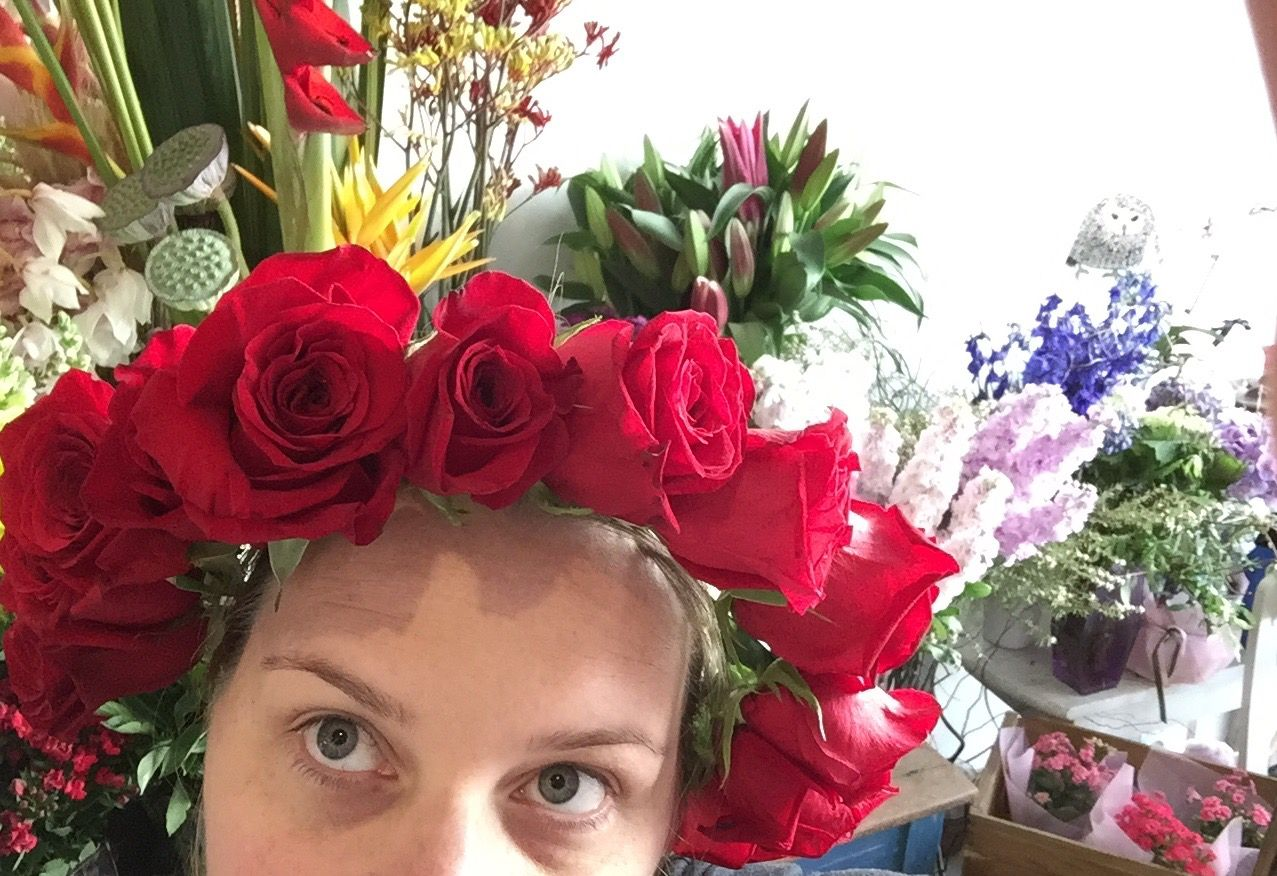 Red flower crown flowers at kirribilli our designs pinterest red flower crown izmirmasajfo