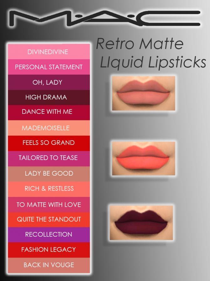 Retro Matte Liquid Lipsticks Collection At Mac Cosimetics Sims 4 Updates Sims Sims 4 Sims 4 Mac