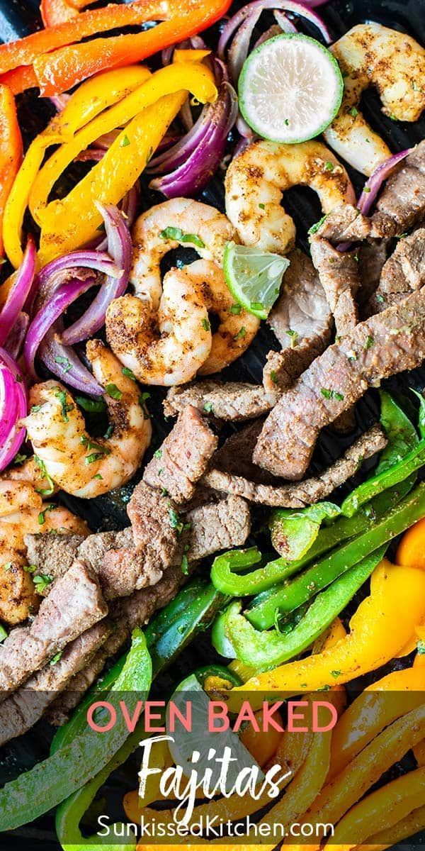 Steak and Shrimp Fajitas / An easy fajita recipe made with beef and shrimp. This sheet pan fajita recipe is so easy, it's sure to become a favorite! | SUNKISSEDKITCHEN.COM | #SunkissedKitchen #fajitas #steak #shrimp #easy #vegetarian #healthy #videos #mealprep #beeffajitarecipe Steak and Shrimp Fajitas / An easy fajita recipe made with beef and shrimp. This sheet pan fajita recipe is so easy, it's sure to become a favorite! | SUNKISSEDKITCHEN.COM | #SunkissedKitchen #fajitas #steak #shrimp #easy #beeffajitarecipe