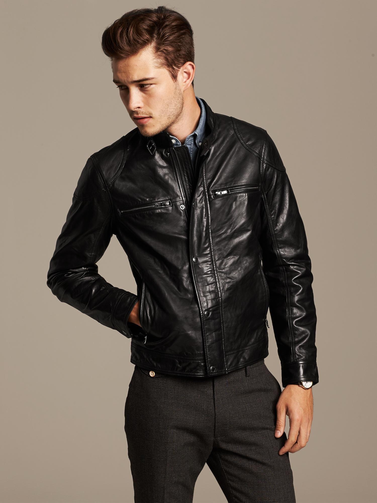 Banana Republic Leather Moto Jacket Фитнес