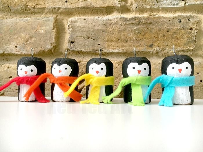 Rainbow Cork Penguin Ornaments - Red Ted Art - Make crafting with kids easy & fun