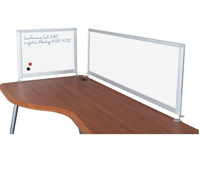 Desktop Privacy Panels Available With Vinyl, Or Dry Erase Whiteboard  Surfaces. Clamp To Any