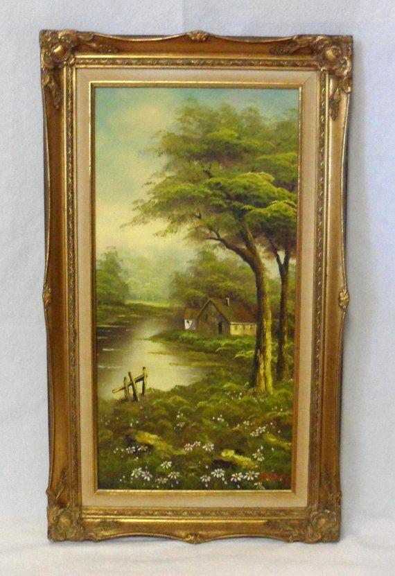 Vintage Oil On Canvas European Style Landscape Painting Art Signed Gold Frame Home Decor Painting Art Landscape Paintings
