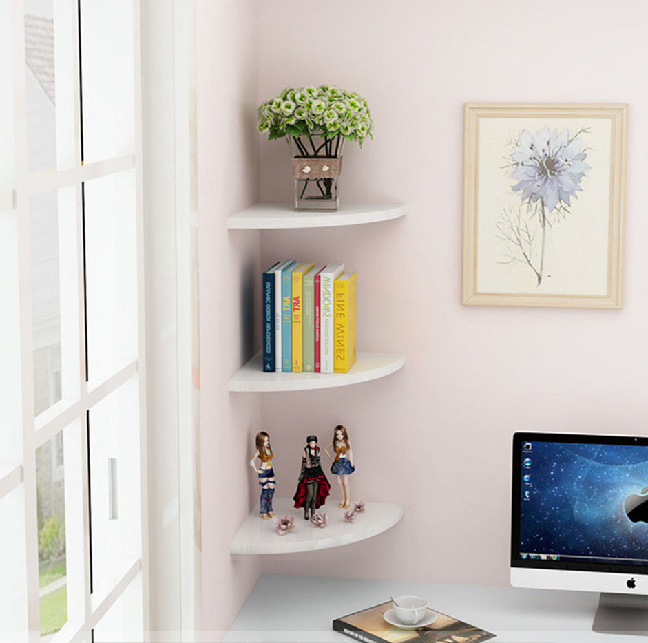 Buy Set Of 3 Corner Floating Shelves With Concealed Hardware Rack Wall Mounted Storage Bookshelves Shelf Decor Bedroom Wall Shelves Bedroom Shelves In Bedroom