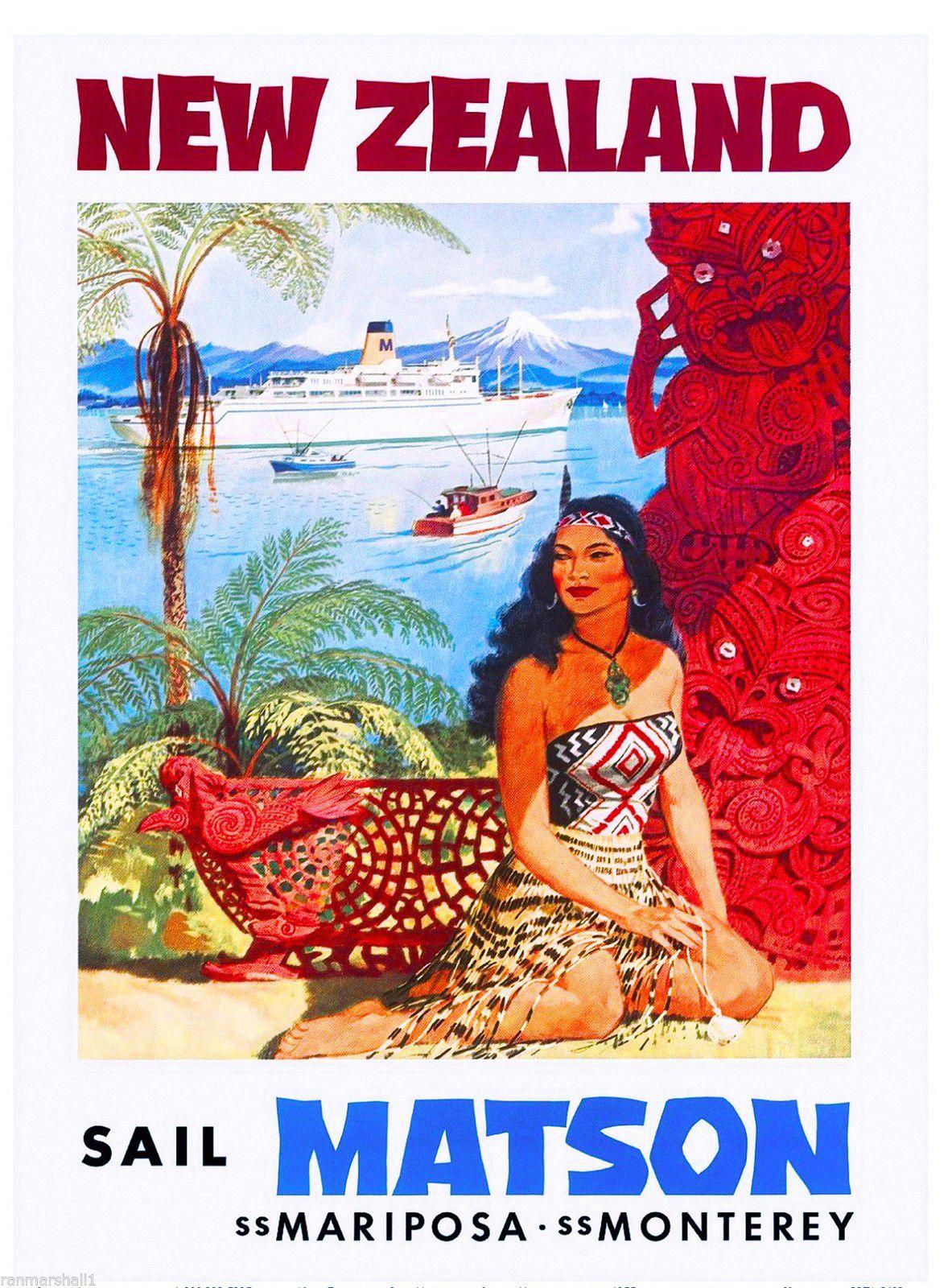 New Zealand Sail Matson Vintage Travel Advertisement Art Poster