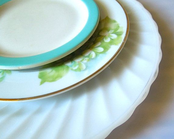 Mismatched China- Blue Green Florals - Wedding Table -  Set of 3 on Etsy, $18.00