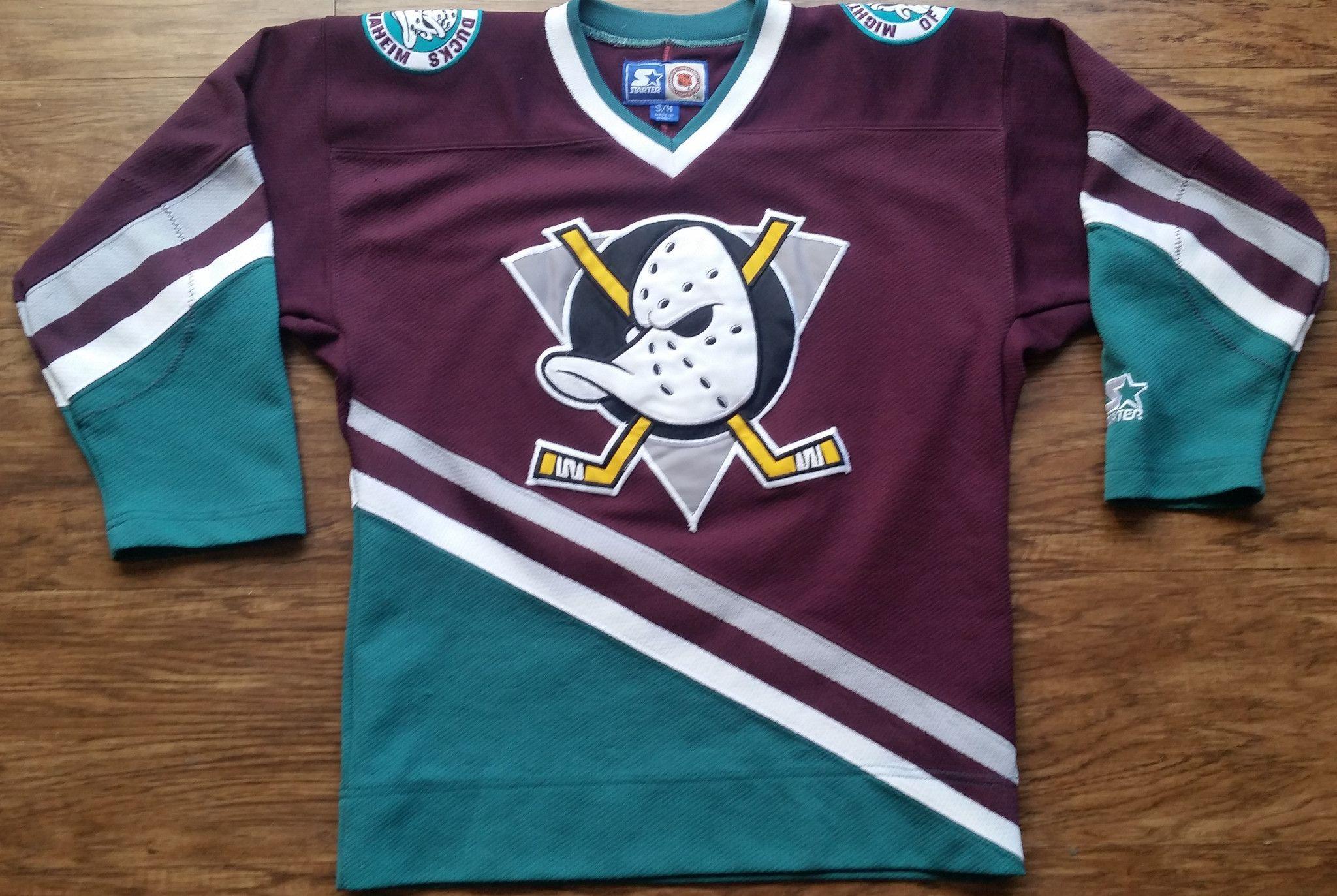 timeless design c045d 90b08 Anaheim Mighty Ducks Starter Jersey Vintage NHL Hockey Rare ...
