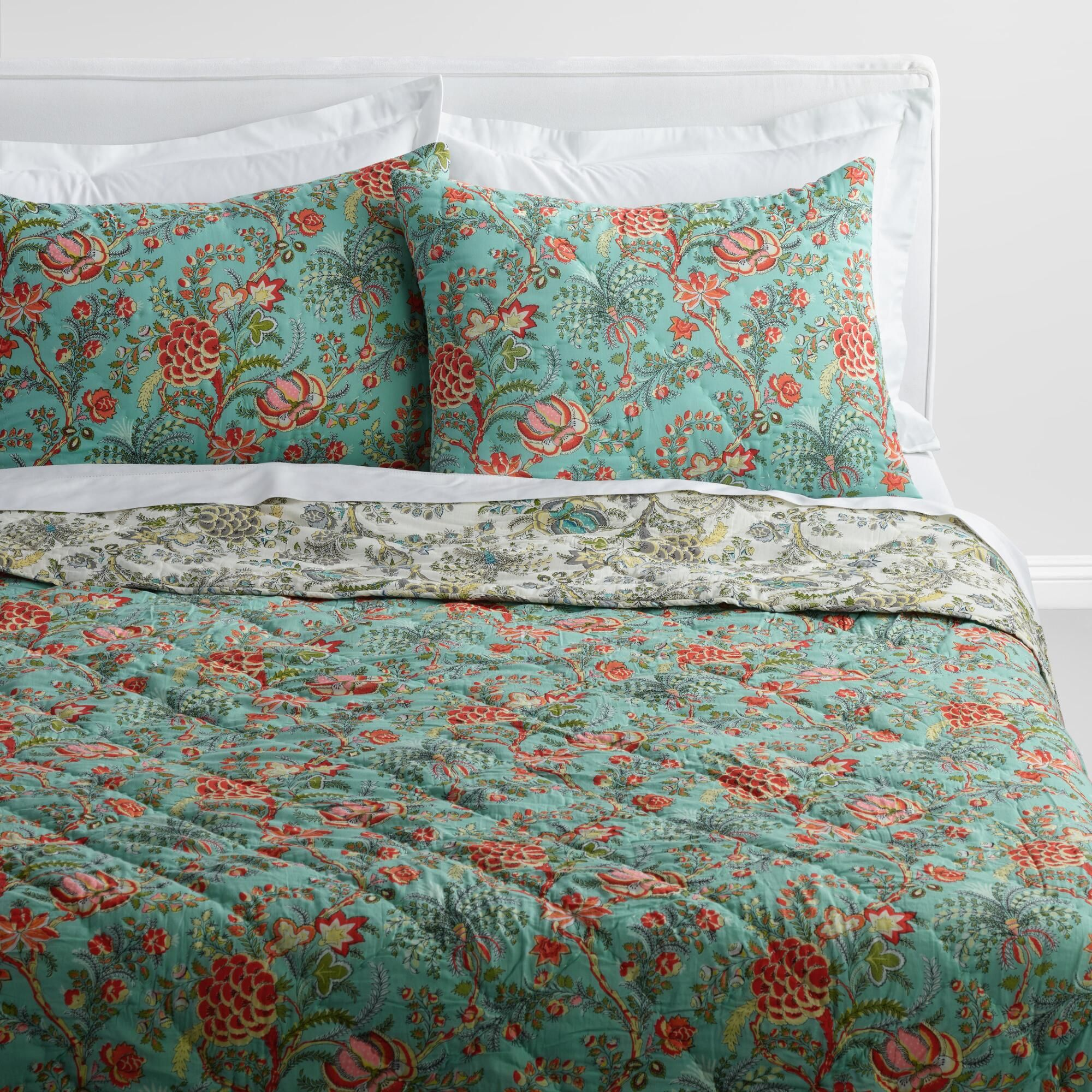Josephine Reversible Quilt Blue Cotton King Quilt By World