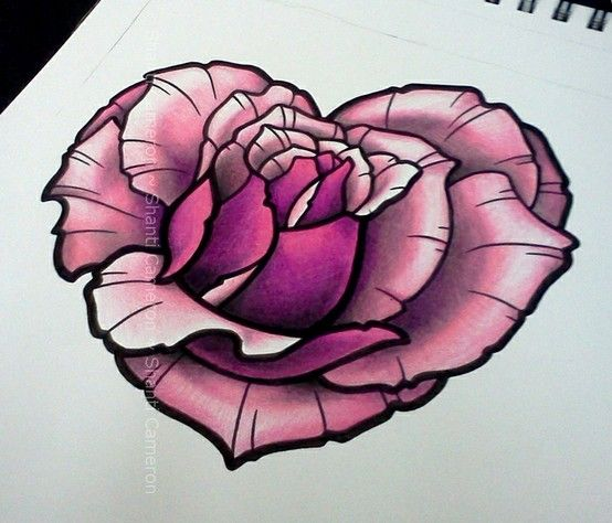 Tattoo Designs Hearts And Roses: Heart Shaped Rose Designed By Shanti.