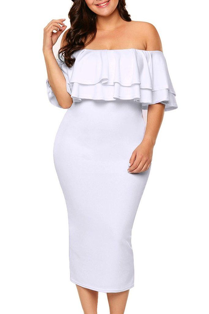 f506d4908d74 Layered Ruffle Off Shoulder White Midi Dress