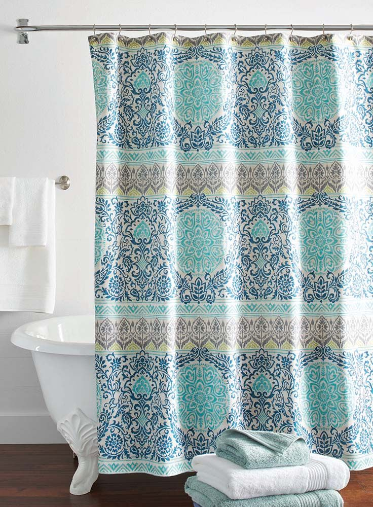 better homes and gardens layered medallion shower curtain - Better Homes And Garden Bathroom Accessories