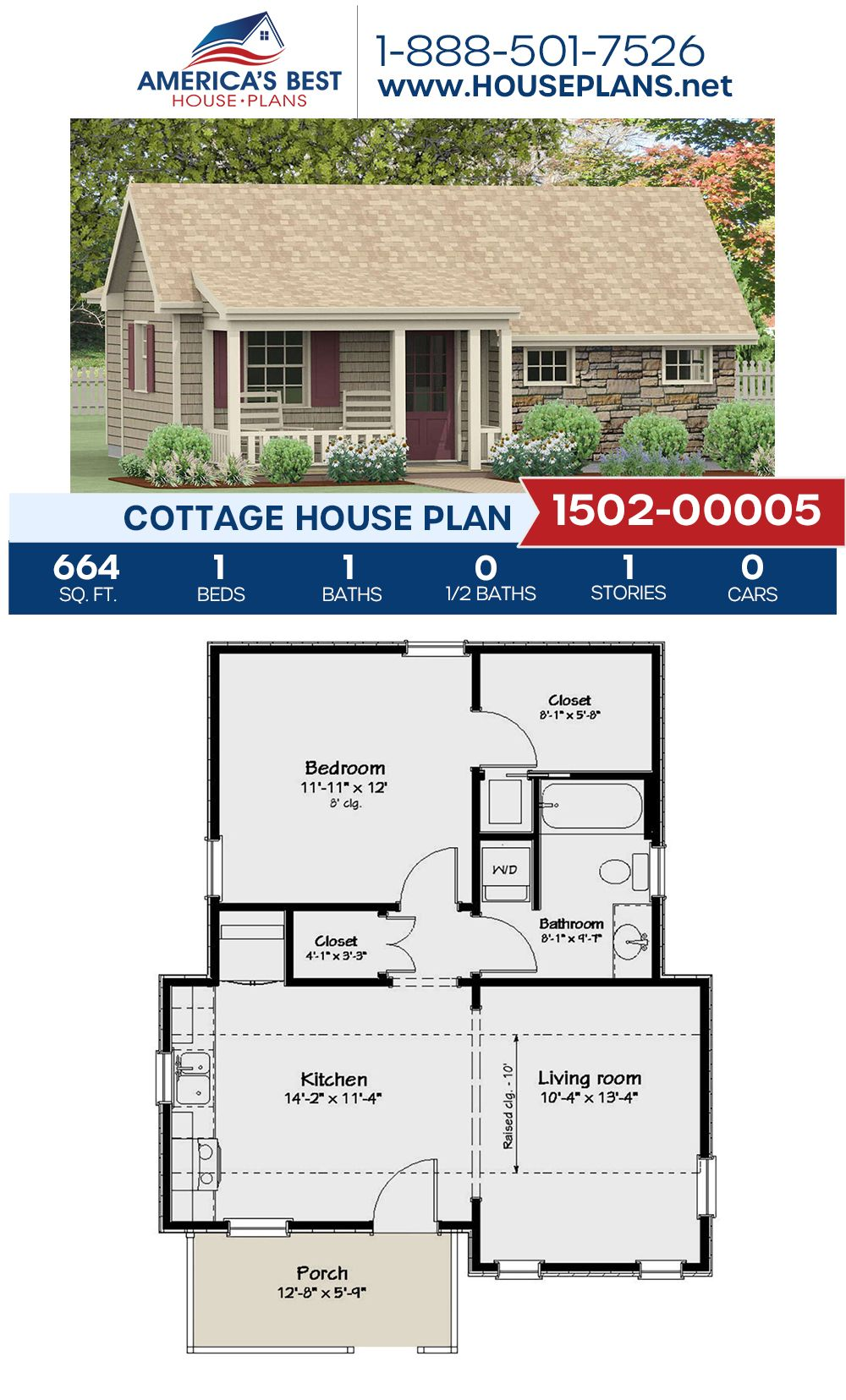 House Plan 1502 00005 Cottage Plan 664 Square Feet 1 Bedroom 1 Bathroom Cottage Floor Plans Small House Floor Plans Cottage Plan