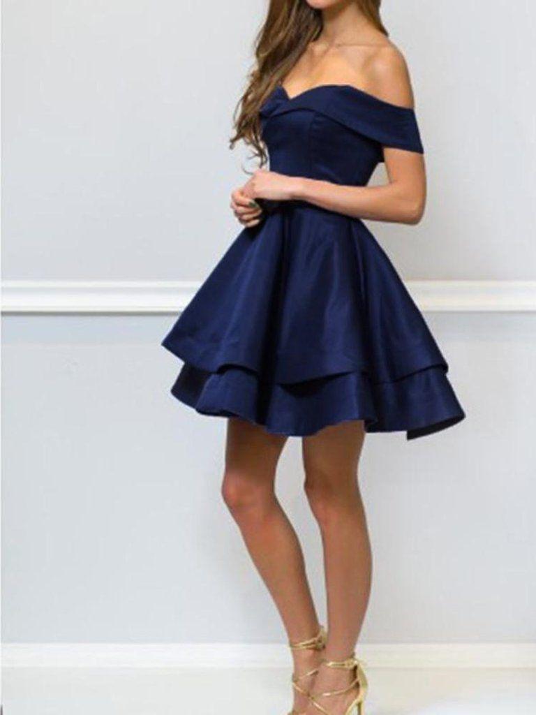 Off Shoulder Short Navy Blue Prom Dresses Short Navy Blue Formal Graduation Evening Homecoming Dresses 8th Grade Prom Dresses Promotion Dresses Satin Homecoming Dress [ 1024 x 768 Pixel ]