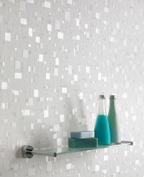 31 White Glitter Bathroom Tiles Ideas And Pictures Bathroom Wall Coverings Wallpaper Bathroom Walls Glamorous Bathroom