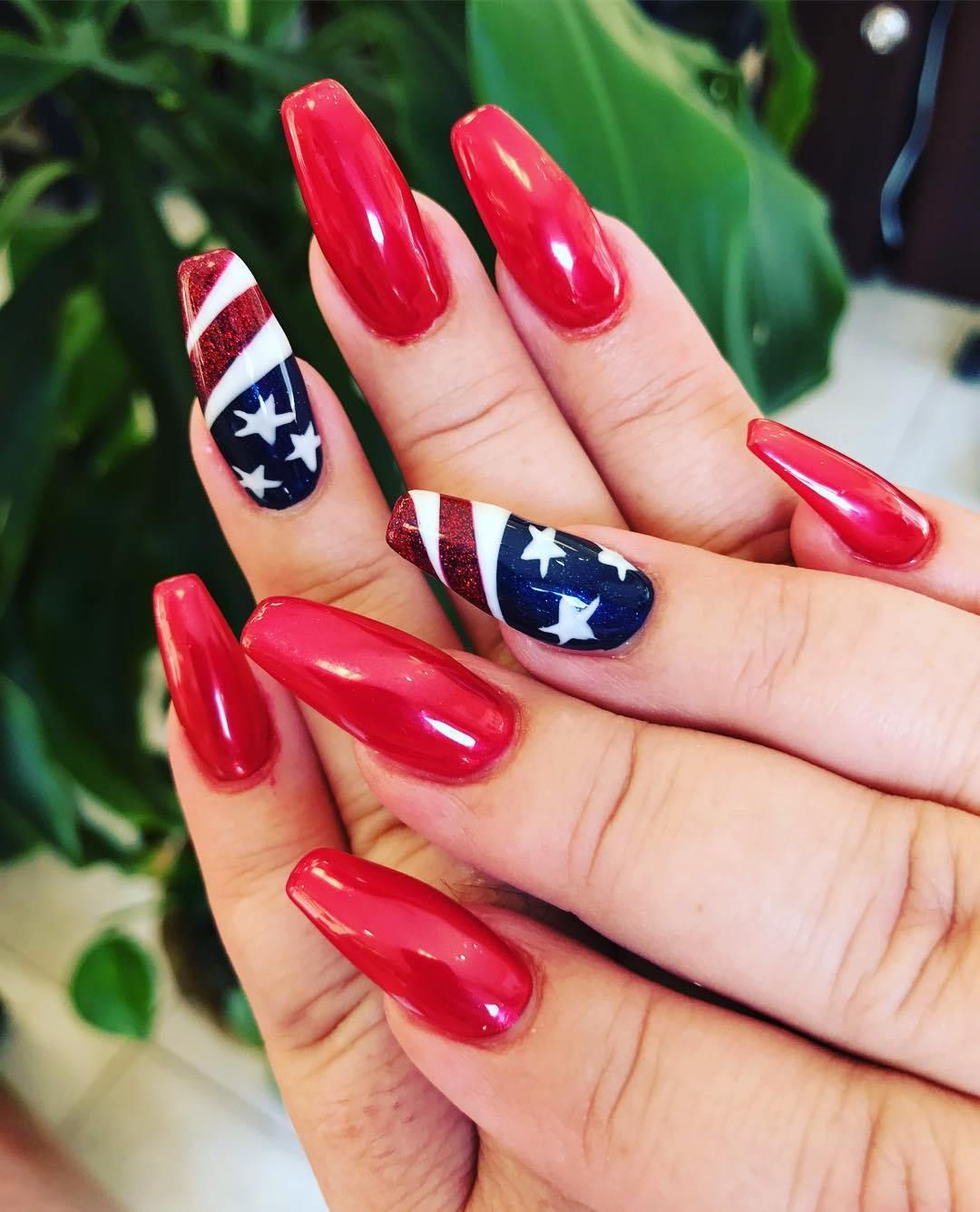 25 Nail Art Ideas For The 4th Of July 4th Of July Nails Fourth Of July Nails Acylic Nails