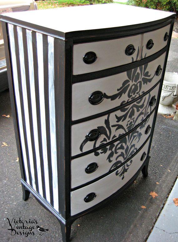 Hand Painted Vintage Damask Tall Dresser by VictoriasVintageDsgn