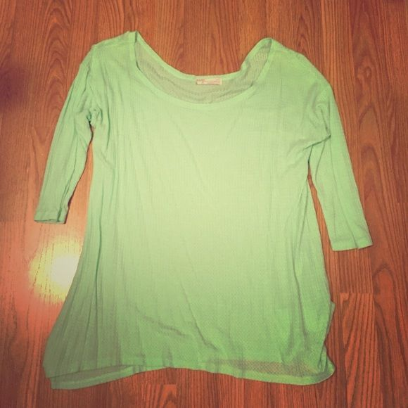 Mint knit top Long sleeve knit top. This top fits big and would be great to pair with jeans or leggings Tops