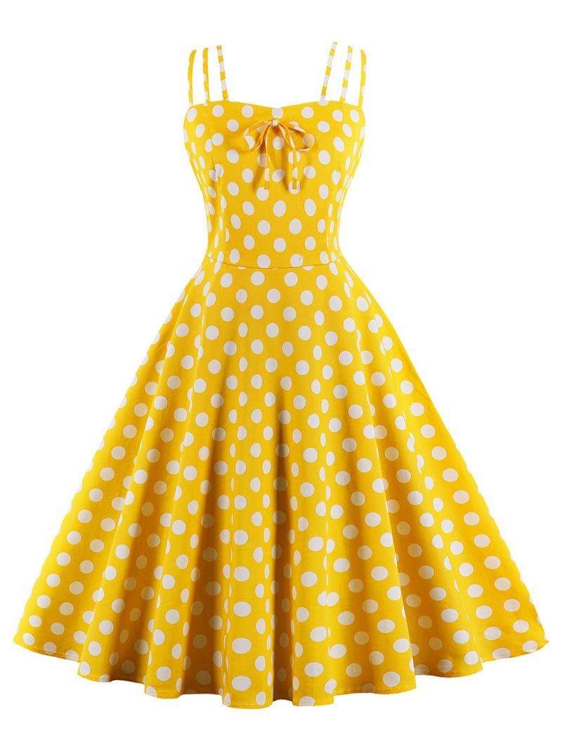 18d1bff2c3ee Retro Spaghetti Strap Polka Dot Pin Up Dress - MUSTARD S   50s ...