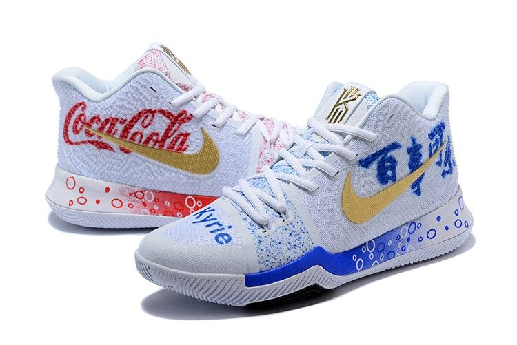"a026620c603 Cheap Nike Kyrie 3 ""Coca-Cola"" Custom White Red Blue For Sale"