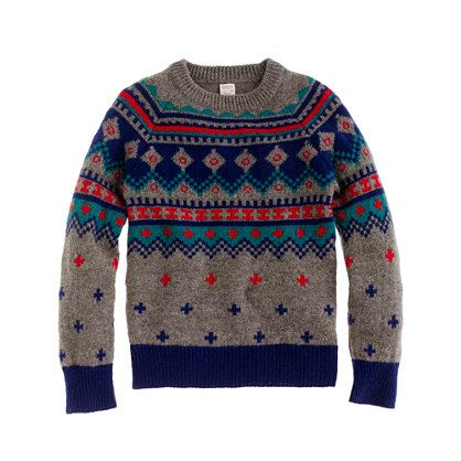 Boys' lambswool Fair Isle sweater in multicolor. I would buy ...