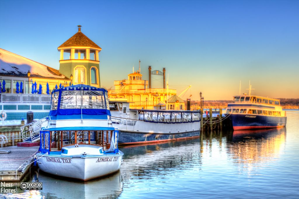 Boats at the old town alexandria waterfront hdr high