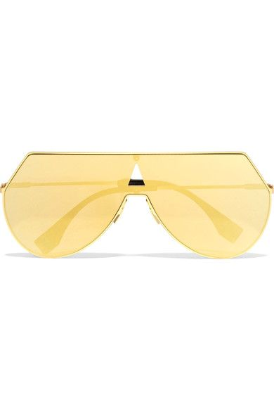 0fb07cf28d Gold · FENDI Aviator-style gold-tone and acetate mirrored sunglasses.
